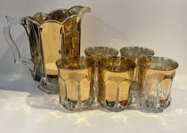 Clear & Gold Gilded Water Pitcher Set- Early American Pressed Glass A Ra... - $137.61