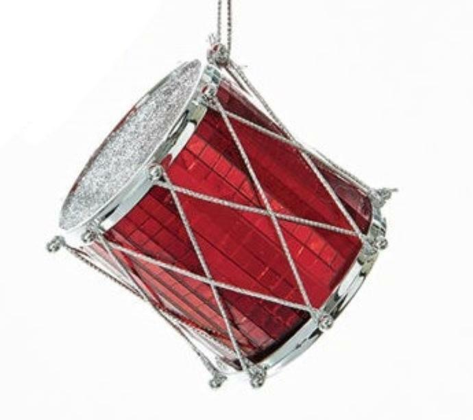Primary image for KURT ADLER RED MIRRORED SILVER GLITTERED DRUM INSTRUMENT CHRISTMAS TREE ORNAMENT