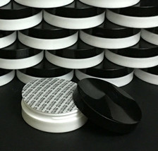 25 Plastic Cosmetic Containers Low Profile Wide Mouth Jars Black Lids Se... - $65.95