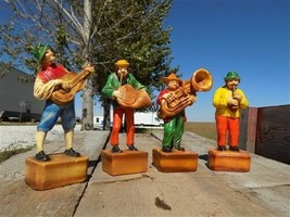 4 Figurines Folk Musician Statue French Horn Guitar Pipe Tuba Player Vin... - $70.00