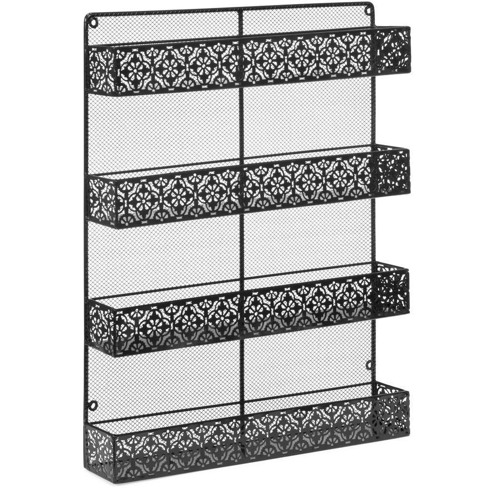 Attractive Spice Rack 4 Tier Wall Mountable Metal Mounted Kitchen Organizer Black  Rustic