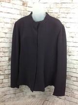 Eileen Fisher Blazer Jacket Size XL Plum Purple Lagenlook Crinkle Silk B... - $69.95