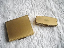 Vintage Stratton Rouge Compact Brown Top & Powder Compact USA Both Gold Tone 2 image 4