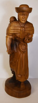 """20"""" Vintage Hand Carved Folk Art Statue Mother Carrying Child Feeding Po... - $123.49"""