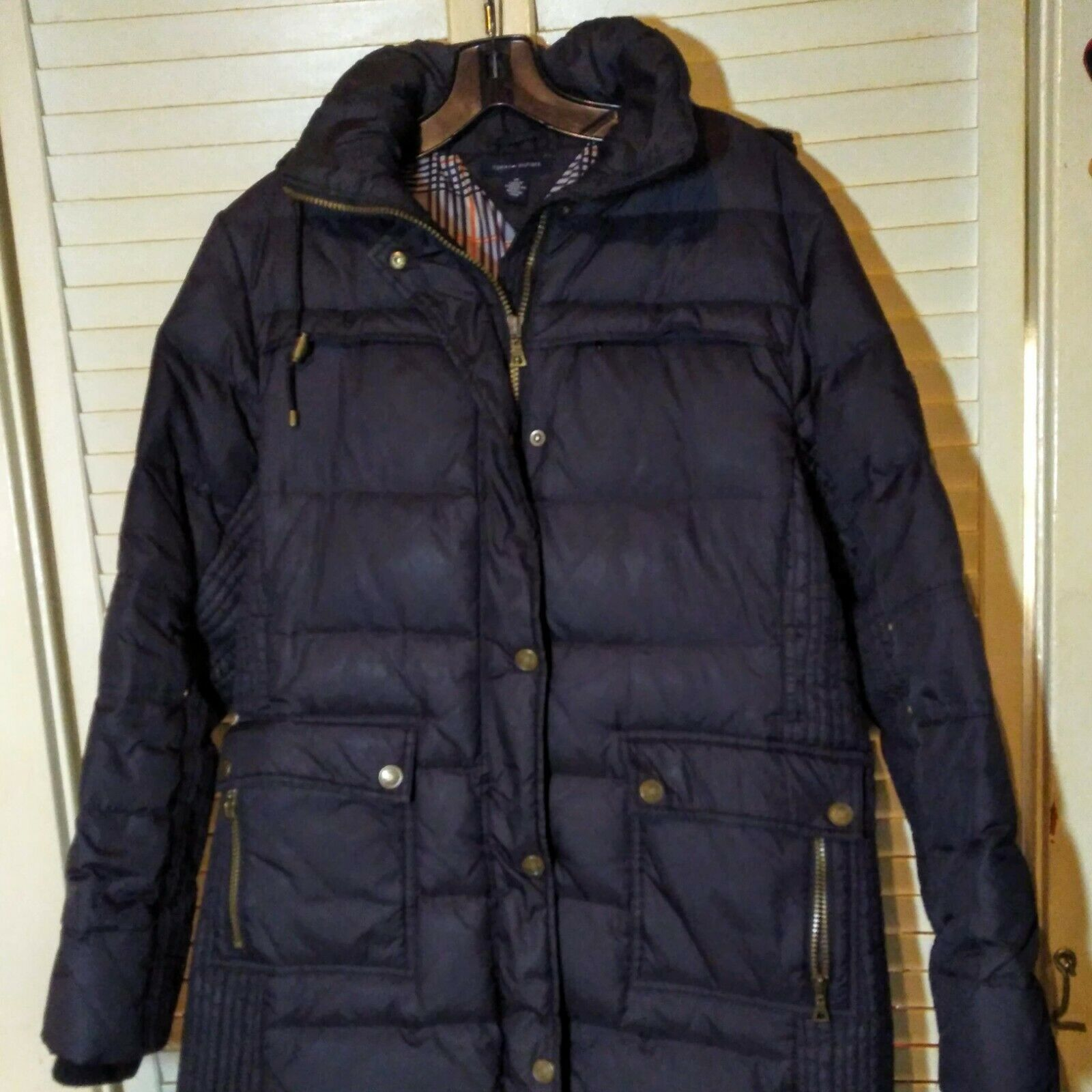 Primary image for Women's Tommy Hilfiger Quilted Hooded Long Jacket Down Puffer Coat SZ M
