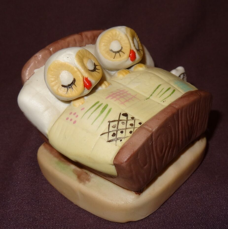 "Primary image for Vintage Owls Sleeping in Bed Figurine Brown Ceramic 2"" Couple"