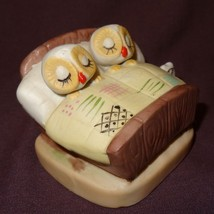 "Vintage Owls Sleeping in Bed Figurine Brown Ceramic 2"" Couple - $18.00"