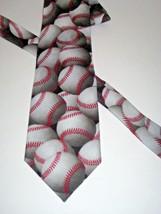 Necktie JUST BALLS Baseballs By Ralph Marlin & Co 1995 USA Polyester - $8.90