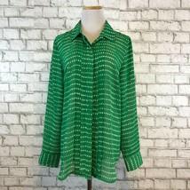 Coldwater Creek Women's Green Printed Longsleeve button Front Shirt Size... - $22.49