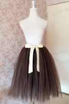 Lady Coffee Brunette Elastic Waist MIDI TULLE SKIRT Birthday Party Skirts