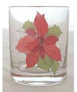 POINSETTIA GLASSES BLOCK 4 TUMBLER OLD FASHION 10 OZ HOLIDAY CHRISTMAS L... - $32.81