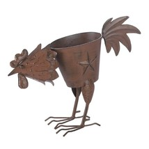 Iron Pecking Rooster Lone Star Planter Weathered Brown Finish - $24.70