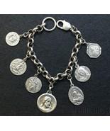 All Heavy Sterling Vintage Charm Bracelet w 7 Rare Medals Jesus & Saints - $410.85