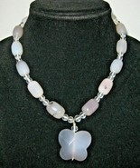 Handmade Grey Gray Quartz Butterfly Beaded Necklace Faceted Stone Beads ... - $39.59