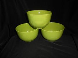 Royal Norfolk Bowls Set of 3 Lime Green Stoneware Ribbed Cereal Soup Bowls - $28.50