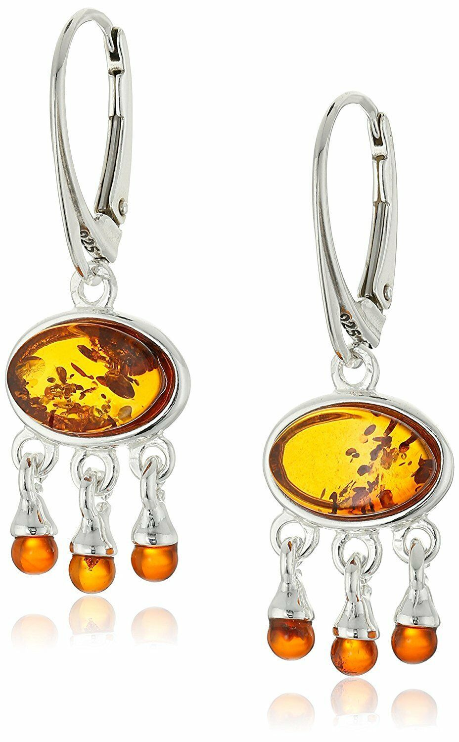 Amazon Collection Amber Gemstone Sterling Silver 925 Classic Dangle Earrings NWT