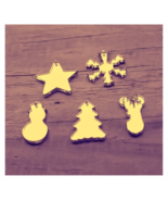 50 Gold Mirror Christmas Tree, Deer Snowman Star Pendants Jewelry Making... - $18.62