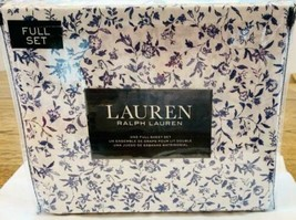 Ralph Lauren Blue Floral on White Full Sheet Set New - $64.14