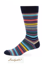 Saks Fifth Avenue Cotton Men's Italy Pink Blue Stripes Soft Socks Sz 10-13 - $10.48