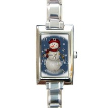 Ladies Rectangular Italian Charm Watch Let It Snow Snowman Christmas 328... - $11.99