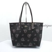 NWT Coach F78283 Reversible Tote Shoulder Bag PVC Ribbon Bouquet Black M... - $124.95