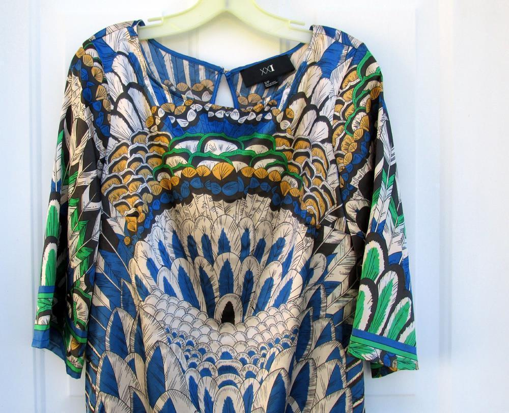 New S/P XXI Forever 21 Womens Multi Colors Silky Polyester Long Slip-On Blouse