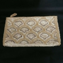 Vintage Sequin Evening Clutch Bag Purse Faux Pearls White Cream  - $29.03