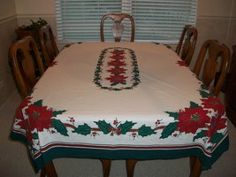 Holiday Rectangular Table Cloth decorated with ... - $7.99