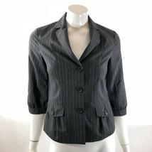 Banana Republic Womens Blazer Size 4 Gray Pinstripe Wool Blend 3/4 Sleev... - $16.82