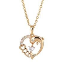 Hollow Heart Shape Dolphin Pendant - $10.88