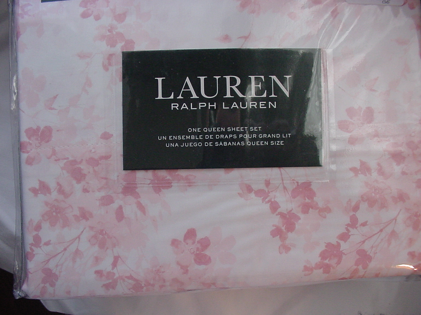 Ralph Lauren Dusty Pink Floral on White Sheet Set Queen