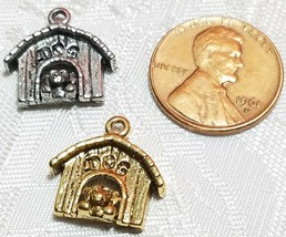 DOG IN DOGHOUSE FINE PEWTER PENDANT CHARM - 16mm L x 15mm W x 5mm D image 2