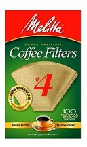 Melitta Cone Coffee Filters, Natural Brown #4, 100 Count (Pack Of 3) - $16.96