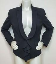 Anne Klein AK Ruffle Blazer Jacket Black Women Size 10 Long Sleeve Lower... - $29.39