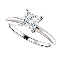 0.50 Carat Princess Cut Diamond Solitaire Ring in 14K Gold - $499.00