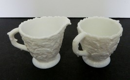 Westmoreland Bramble Milk Glass Footed Open Sugar and Creamer Set Maple ... - $21.66