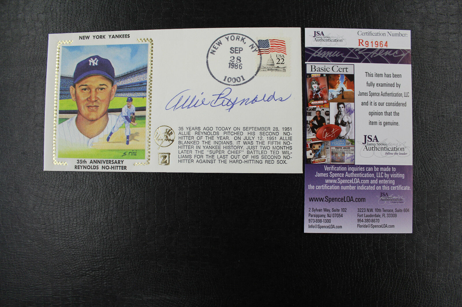 Primary image for Yankees ALLIE REYNOLDS 35th Anniversary No-Hitter AUTO 1986 Cachet/Envelope JSA