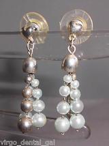 VTG Silver Tone Heart Blue Faux Pearl Beaded Dangle Post Earrings - $7.92