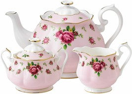 Royal Albert Modern Vintage New Country Roses Pink 3-Piece Tea Set NCRPN... - $251.61