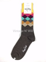 Happy Socks Men 10-13 Shoe 8-12 Diamond Check Argyle Yellow Brown Gray S... - $10.99