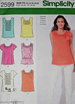 Top with Trim Variation Misses size 12-20 Simplicity 2599 Sewing Pattern  - $8.41