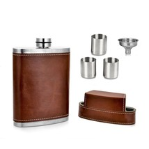 NEW! Pocket Flask Gift 8 Oz with Funnel - Stainless Steel US - $27.37