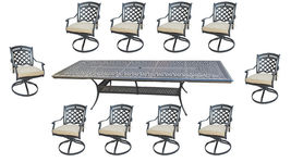 11 piece outdoor dining set cast aluminum powder coated 132 extension table. image 3