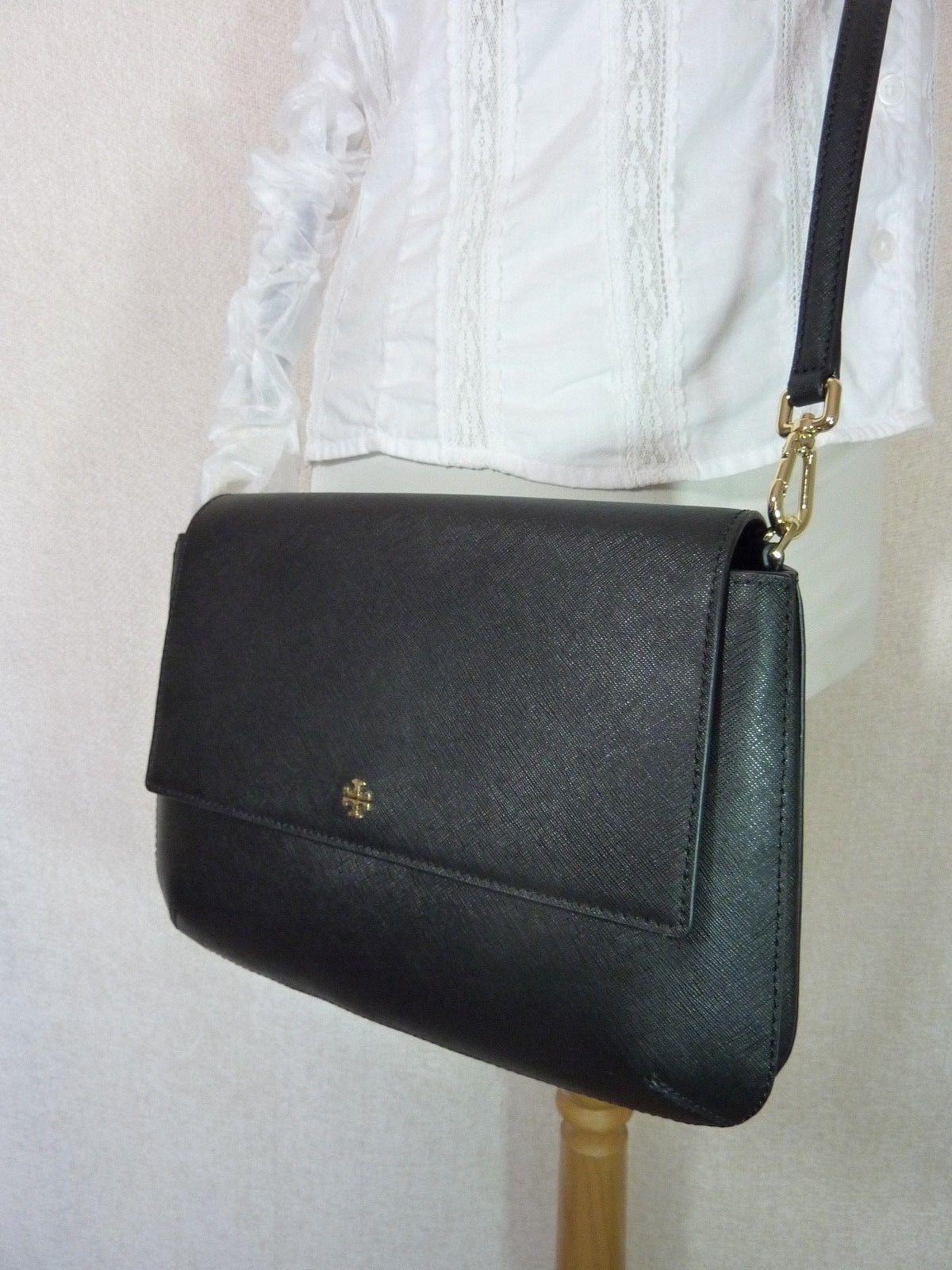 NWT Tory Burch Black Robinson Saffiano Combo Messenger Cross Body Bag