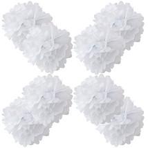 """WYZworks Set of 8 - WHITE 12"""" - 8 Pack Paper Tissue Pom Poms Flower Part... - £11.66 GBP"""