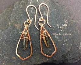 Handmade copper earrings: framed wire wrapped amber glass dagger bead - $27.00