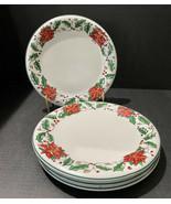 Holly Holiday Poinsettia Plates Set of 4 Dishes Christmas Dish Dishwashe... - $23.38