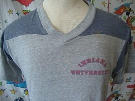 Vintage Indiana Hoosiers Champion Blue Bar Tag V Neck 80's T shirt Sz M - $29.69