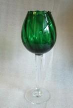 Retro Mod Blown EMERALD GREEN Color EMPOLI ITALY GLASS GOBLET BALLOON VASE! - $29.65