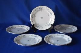 Johann Haviland Bavaria Germany Blue Garland Set of 5 Bread & Butter Plates - $9.90